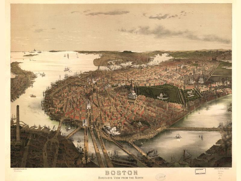 Boston from the North 1877 wallpaper