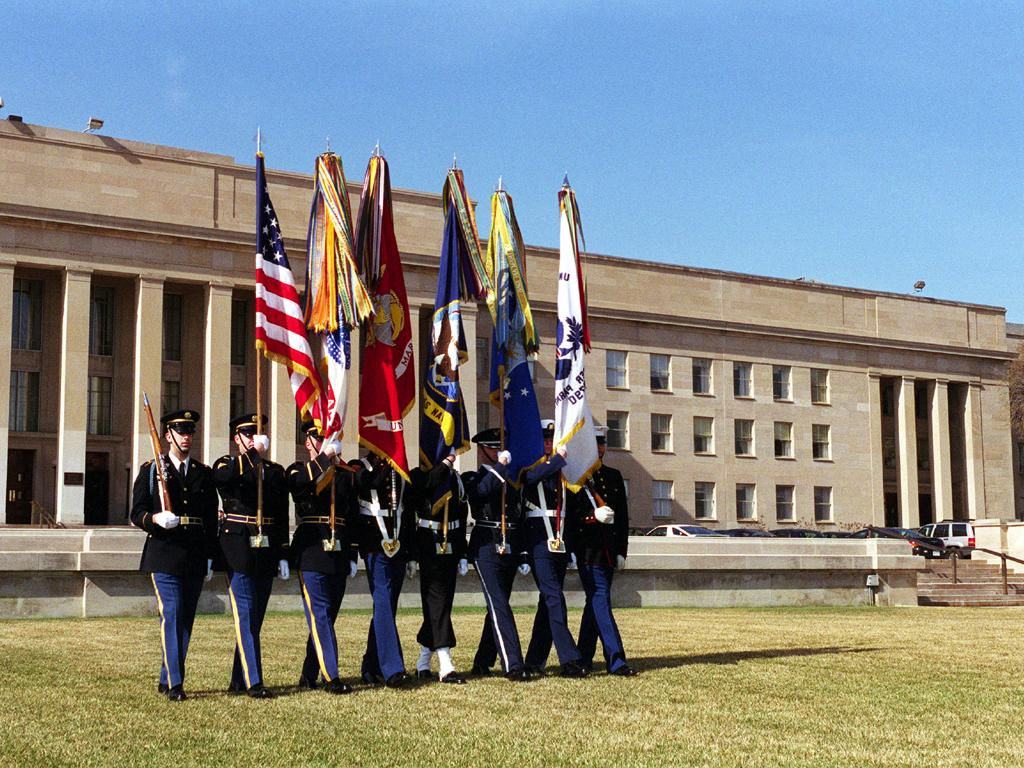 Multiservice color guard on parade wallpaper