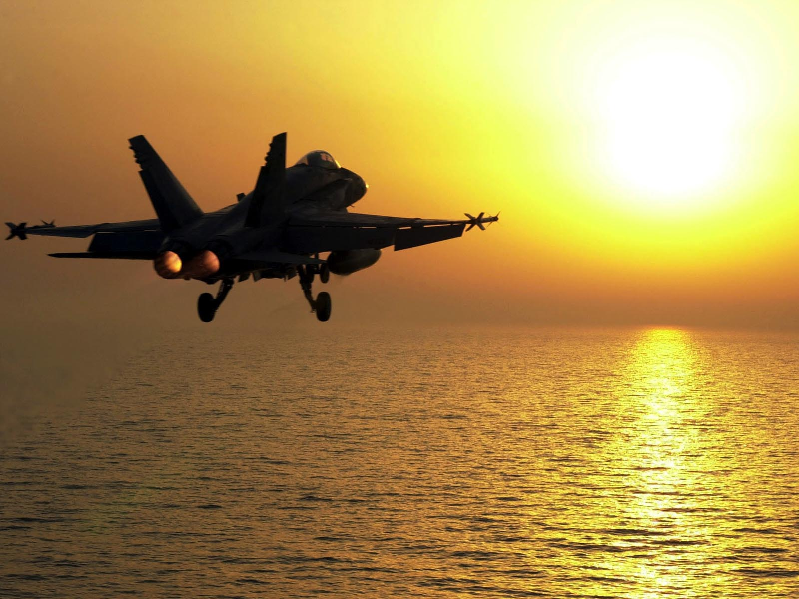 F-18 going into the sun wallpaper