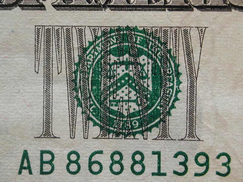 Closeup of 20 Dollar Bill wallpaper