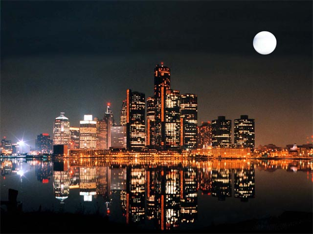 Detroit River at Night wallpaper