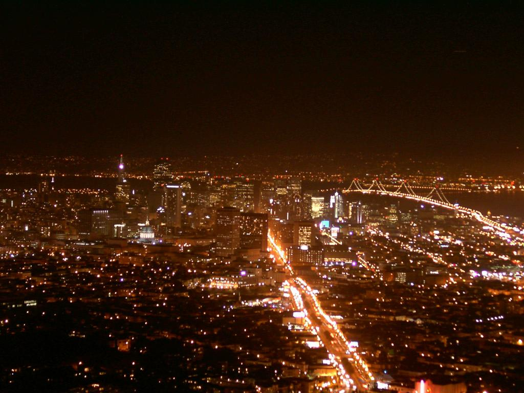 San Francisco night view from Twin Peaks wallpaper