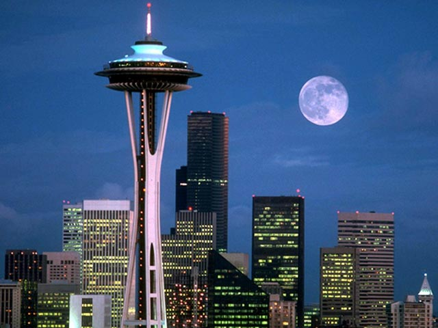Seattle skyline with moon wallpaper