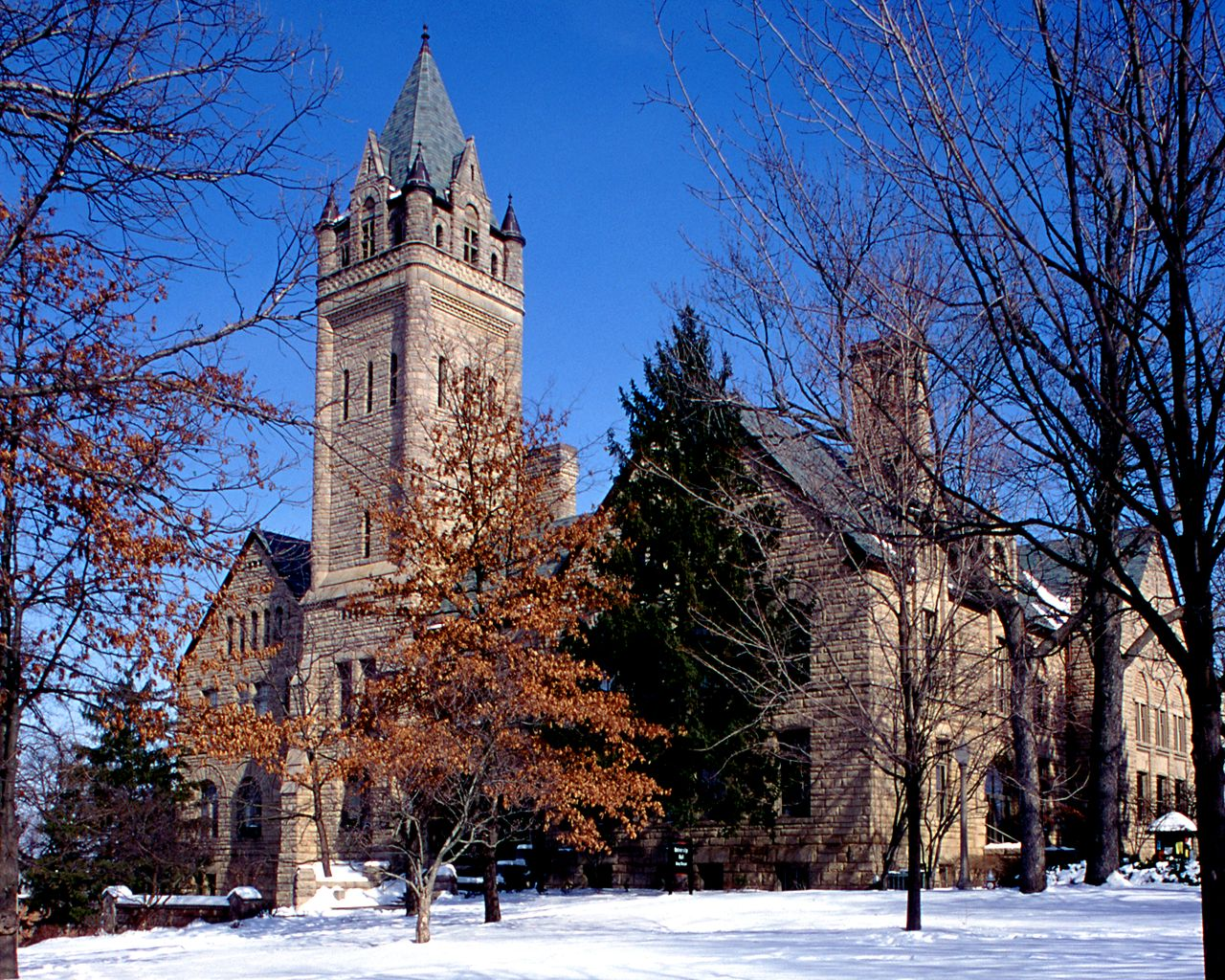 Ohio Wesleyan University<br />University Hall in the Snow wallpaper