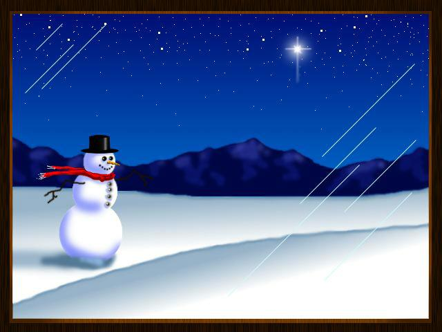 Snowman & Christmas Star wallpaper